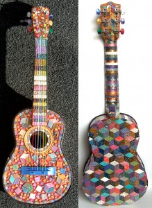 polymer clay mosaic guitar