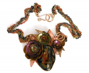 Ceramic Face, Metal Flowers necklace 2