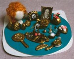 miniature dresser set made with polymer clay