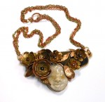 Ceramic Face, Metal Flowers necklace 1